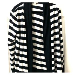 Dark navy and white stripe cardigan